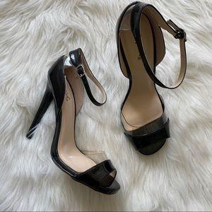 Qupid Black Open Toe Heels